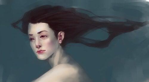 Kvinde med angst under vand