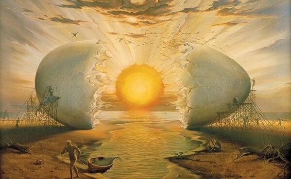 Klækket æg har solen som blomme