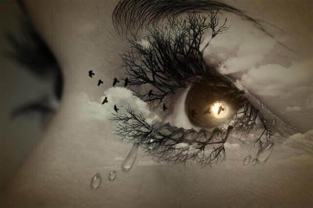 Øje med tårer kan ikke håndtere søvn