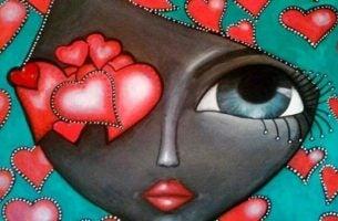 Pige med hjerter for øje har valgt at konfrontere følelser
