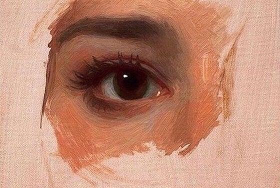 Maleri af kvindes øje