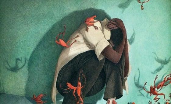 Røde frøer, der angriber mand, symboliserer udtryk vi ikke burde bruge