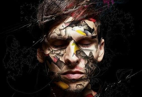 Ansigt dækket af mønstre som symbol på psykiske sygdomme