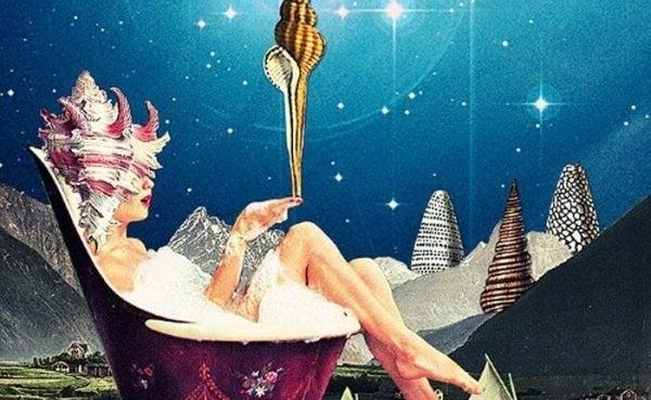 Kvinde i badekar foran nattehimmel