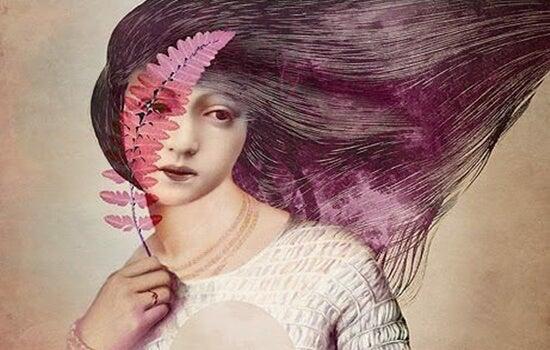 Pige med blad foran øje som symbol for tågelaget