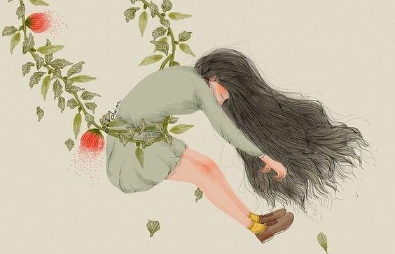 Pige svinger sig i gren med blade for at komme af med stress, da stress forårsager hukommelsestab