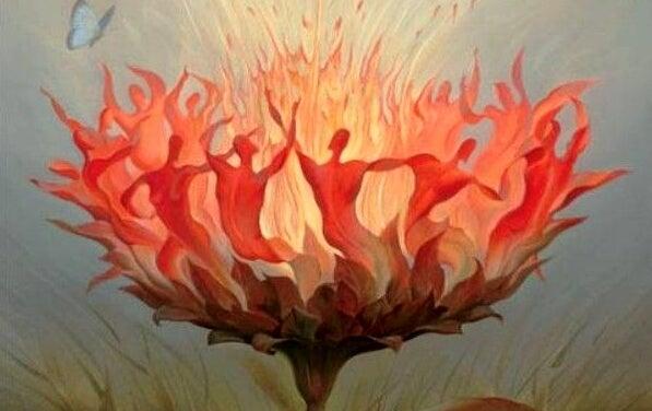 Blomst ligner mennesker, der danser om ild