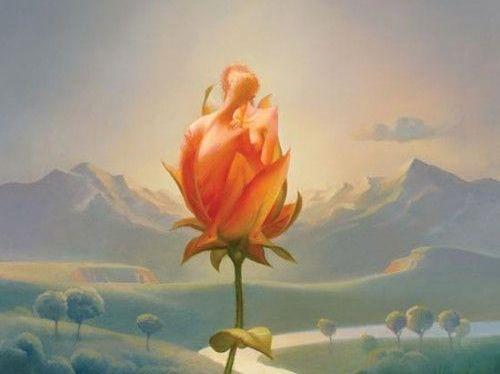 Blomst foran bjerglandskab