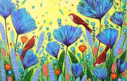 Fugle på blomstermark