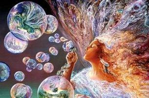 Kvinde puster sæbebobler