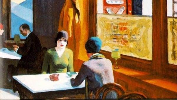 Maleri med mange meningsfulde detaljer af to kvinder på cafe