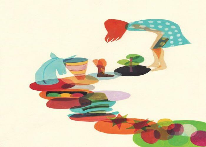 kvinde. farvede cirkler. livets mening.