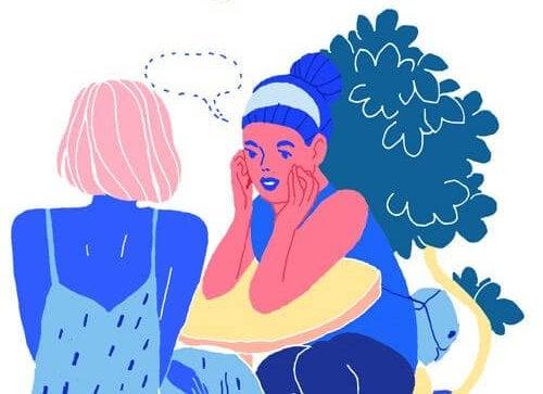 Kvinder i kontrastfarver snakker sammen