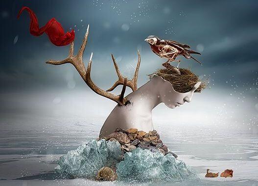 Kvinde i sky med fugle