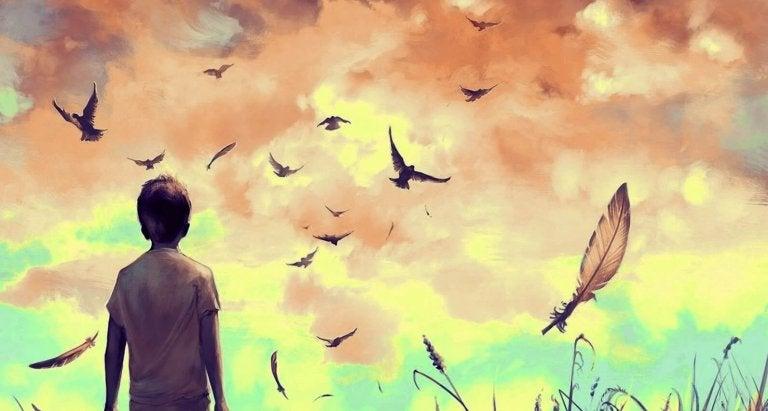 Person kigger på fugl
