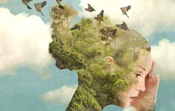 Fugle flyver fra kvindes hoved med træer