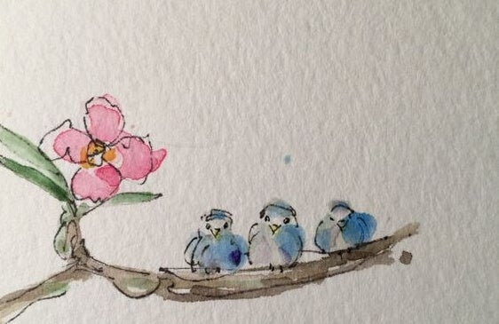 Tre fugle på en gren