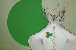 Person med grøn plante på ryg symboliserer kronisk smerte