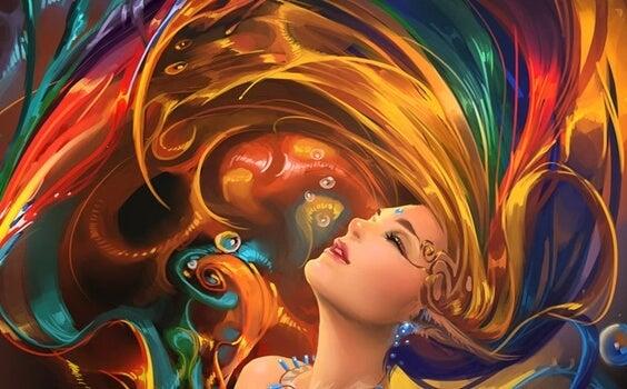 Kvindes hår viser farvernes psykologi
