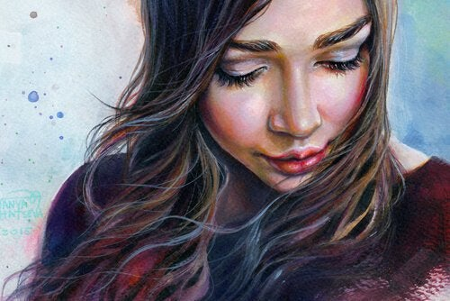 Kvinde med vind i hår