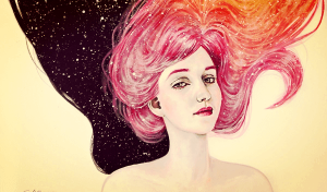 Teenager med pink hår