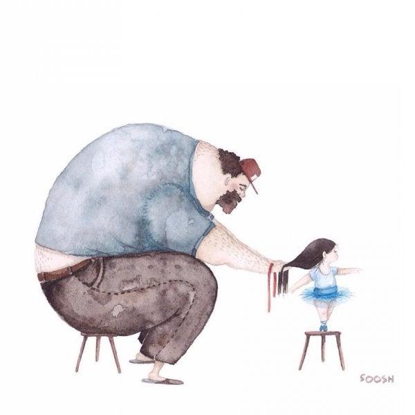 En far der fletter sin datters hår