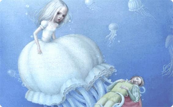Pige i hav har fanget menneske