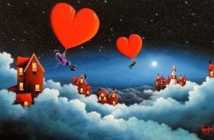Personer flyver med hjerter mellem hjem i skyerne på grund af langdistanceforhold