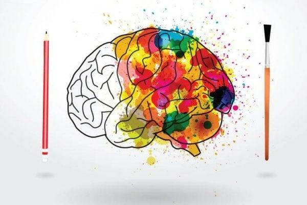 Hjerne med maling viser farvernes psykologi