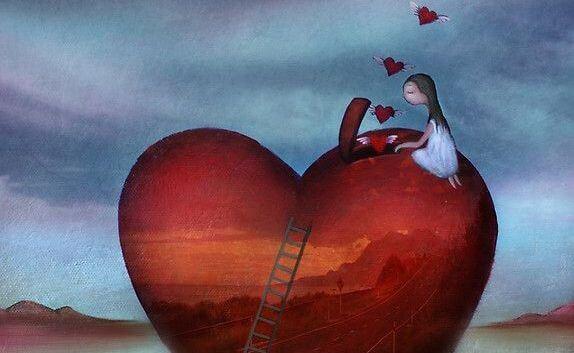 Pige lukker små hjerter ud af stort hjerte i forsøg på at håndtere sorg