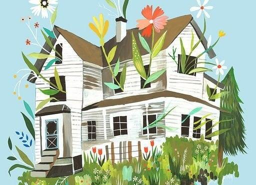 Et hus, hvor blomster vokser ud af vinduer, som symbol for, at du skal lytte til dig selv og lade dit indre vokse