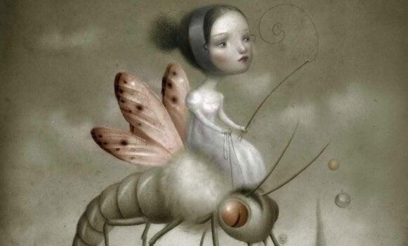 Pige ridder på insekt på grund af behov for at kontrollere andre