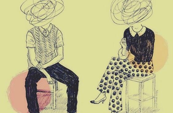 Personer med kruseduller som hoved viser giftigt venskab