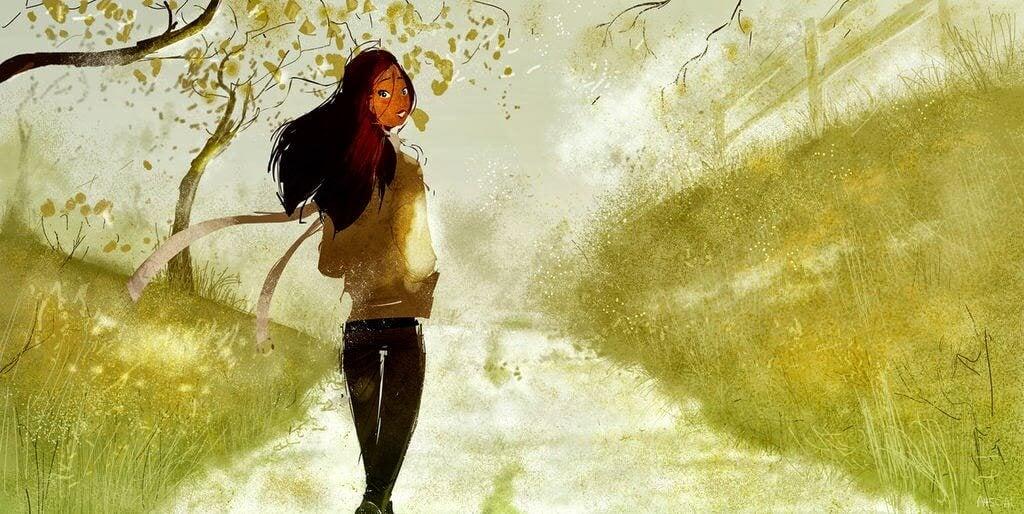 Tegning af kvinde der går tur. PilarJericó