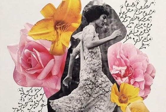 Kvinde i kjole med blomster