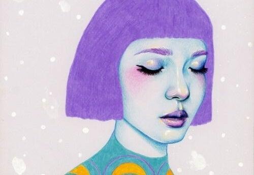 Pige med lilla hår