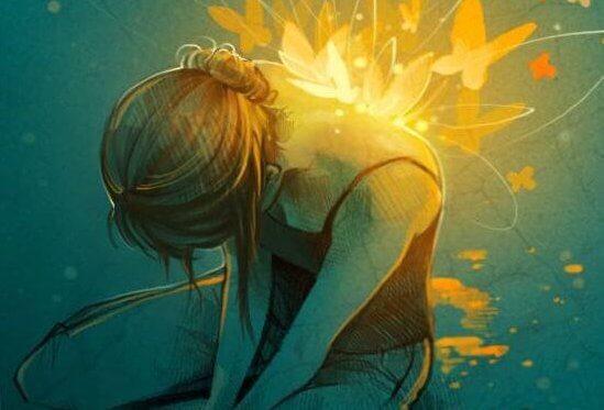 Kvinde med sommerfugle og lys på sin ryg viser styrken til at fortsætte