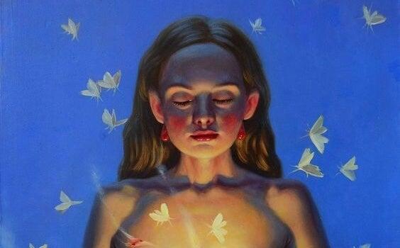 Pige med lukkede øjne har lys i sig