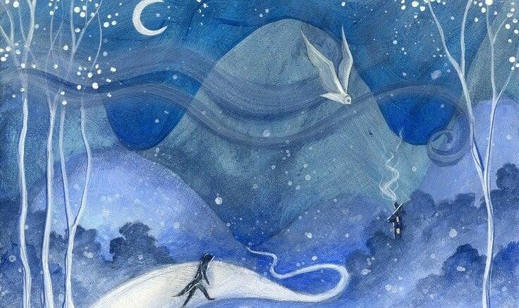 Maleri af nattehimmel og person, der vandrer på grund af sorg