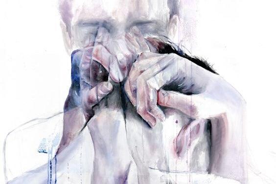 Maleri af mand og hænder smeltet sammen