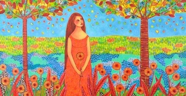 Kvinde på mark nyder blomster og frygter sparsommelighed