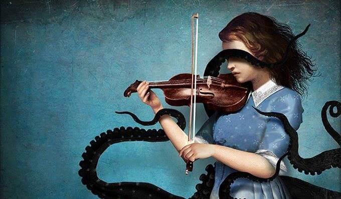 Kvinde spiller violin med blækspruttearme om sig for at udtrykke sin ondskabsfulde side