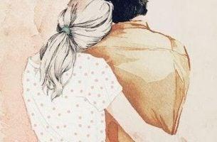 Trist par krammer hinanden