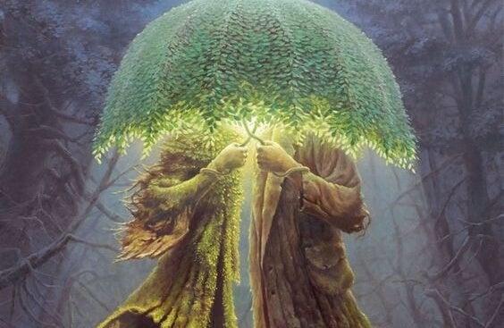 Personer med træ som paraply