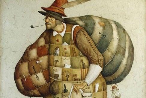 Mand går med store sække