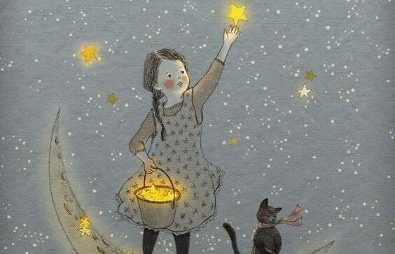 En pige rækker ud efter stjerner på himlen, da hun har indset, vi er lavet af stjernestøv