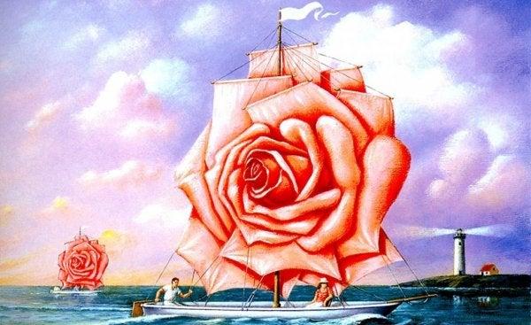 Skibe med rose som sejl