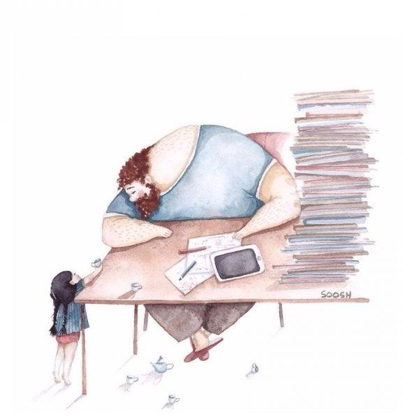 En far får en gave af sin datter på sit travle skrivebord
