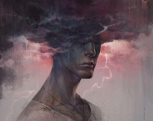 Mand med hoved i tordensky illustrerer følelsesmæssige vampyrer