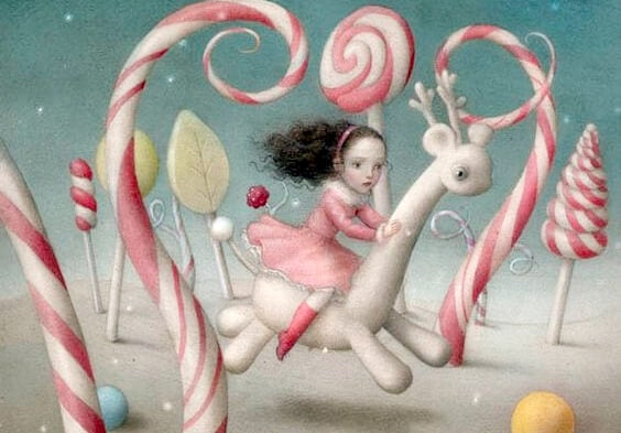 Pige rigger på fantasidyr i slikland